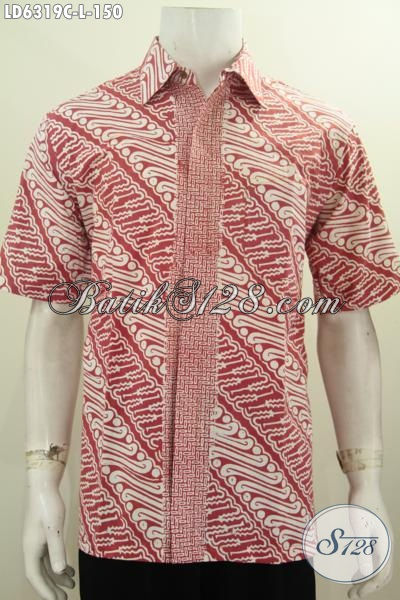 Hem Batik Parang Desain Mewah, Kemeja Batik Cap Dari Solo Bahan Halus Harga Murah, Size L