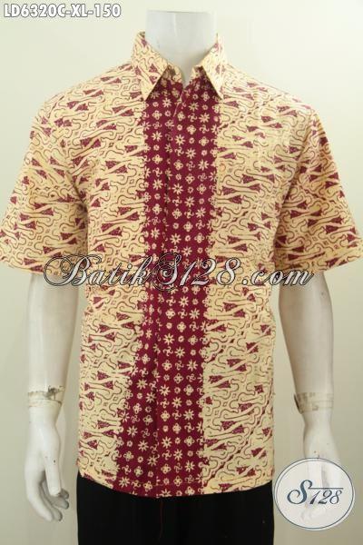 Baju Hem Batik Keren Lengan Pendek Ukuran XL, Baju Batik Modis Kwalitas Halus Proses Cap Harga 150K