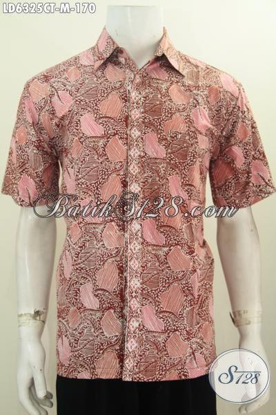 Baju Batik Pria Motif Terbaru, Berbahan Halus Proses Cap Tulis Ukuran M, Untuk Tampil Modis Dan Gaya Model Lengan Pendek