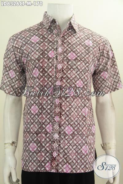 Sedia Hem Batik Lengan Pendek Daleman Tidak Pakaian Furing, Baju Batik Cap Tulis Motif Elegan Di Jual Online 170K, Size M