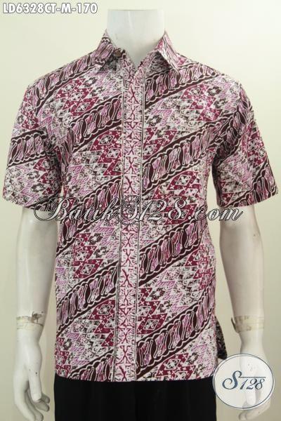 Baju Batik Solo Desain Trendy 2016, Hem Batik Modis Motif Parang Warna Bagus Proses Cap Tulis, Pakaian Batik Lengan Pendek Istimewa Untuk Tampil Mempesona