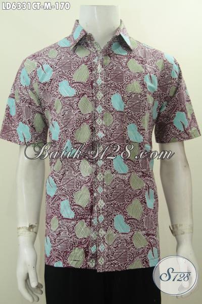 Pakaian Batik Halus Motif Keren Model Lengan Pendek, Baju Batik Santai Untuk Jalan-Jalan Berbahan Halus Proses Cap Tulis Untuk Penampilan Lebih Keren, Size M