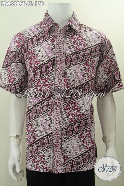 Pakaian Batik Halus Warna Mewah Motif ELegan, Hem Batik Parang Cap Tulis Untuk Lelaki Terlihat Modis Dan Gagah, Size XL