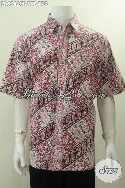 Pakaian Batik Lelaki Gemuk, Hem Batik Jumbo 3L Bahan Adem Motif Elegan Proses Cap Tulis Model Lengan Pendek