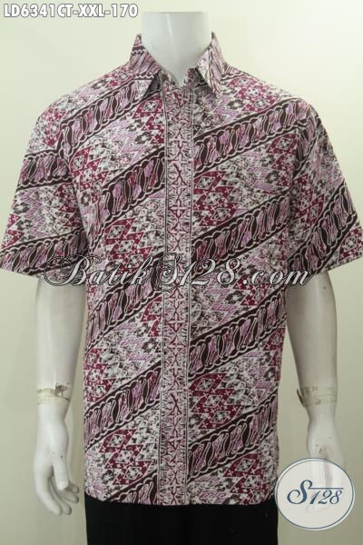 Baju Batik Jumbo Pria Gemuk, Hem Batik Lengan Pendek Halus Proses Cap Tulis Buatan Solo Untuk Tampil Elegan, Size XXL