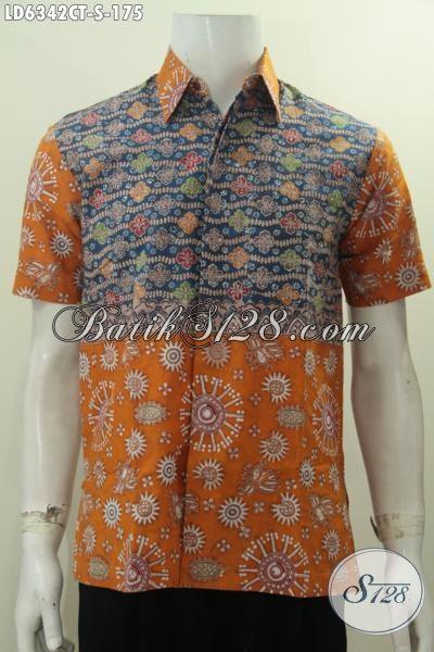 Baju Batik Cap Tulis Dua Motif Model Lengan Pendek, Hem Batik Gaul Pria Muda Proses Cap Tulis Di Jual Online Harga 175K, Size S
