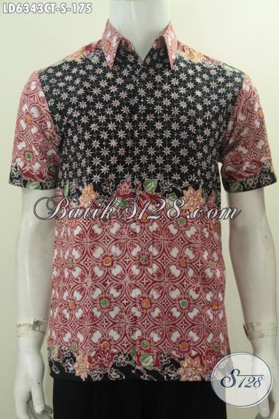 Pakaian Batik Modis Halus Proses Cap Tulis, Sedia Busana Batik Trendy Bahan Adem Motif Kombinasi Edisi Spesial Untuk Pria Muda [LD6343CT-S]