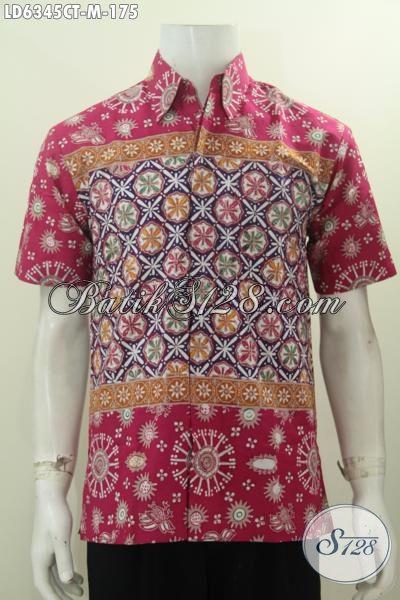 Sedia Baju Batik Trendy Untuk Lelaki Muda, Hem Batik Halus Buatan Solo Proses Cap Tulis Bahan Adem Yang Nyaman Dan Modis Di Pakai Tiap Hari, Size M