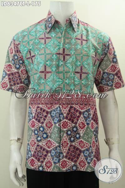 Baju Btik Solo Trendy Motif Unik Dan Berkelas, Pakaian Batik Halus Lengan Pendek Proses Cap Tulis Untuk Penampilan Lebih Istimewa, Size L