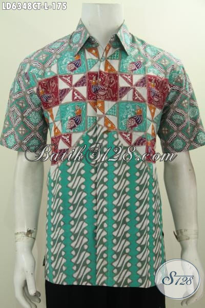 Baju Hem Halus Motif Kombinasi Bahan Batik Cap Tulis, Kemeja BatikKeren Yang Cocok Untuk Kerja Dan Hangout, Size L
