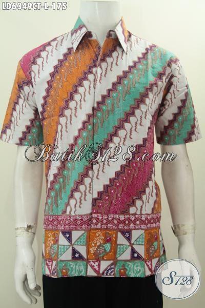 Jual Kemeja Batik Keren Halus Kwalitas Istimewa, Produk Baju Batik Trendy Berbahan Adem Proses Cap Tulis Motif Kombinasi Ukuran L