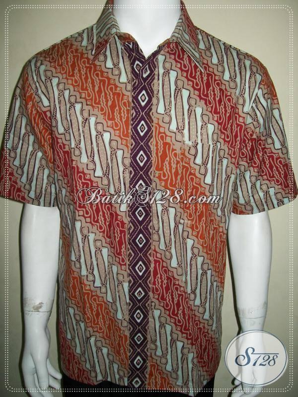 Kemeja Batik Parang Modern Warna Soft Kalem Elegan, Cocok Untuk Kerja Kantor [LD634CT-L]