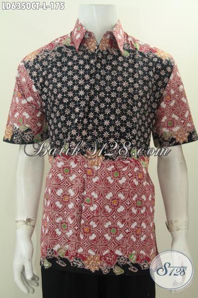 Hem Batik Santai, Kemeja Batik Modis Lengan Pendek Ukuran L Bahan Halus Motif Kombinasi Proses Cap Tulis, Tampil Terlihat Gaya