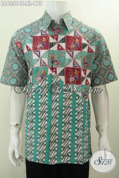 Produk Pakaian Batik Terbaru Warna Hijau Dengan Motif Kombinasi, Hem Batik Cap Tulis Untuk Pria Dewasa Size XL Tampil Lebih Mempesona