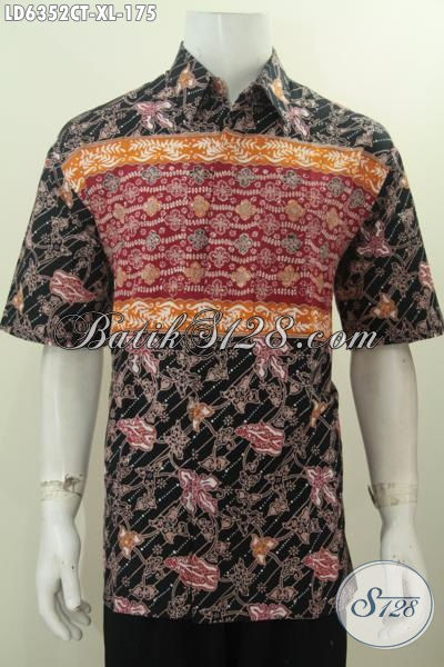 Busana Batik 2018 Untuk Pria, Kemeja Batik Motif Kombinasi Ukuran XL Proses Cap Tulis Bahan Adem Nyaman Di Pakai Tiap Hari [LD6352CT-XL]