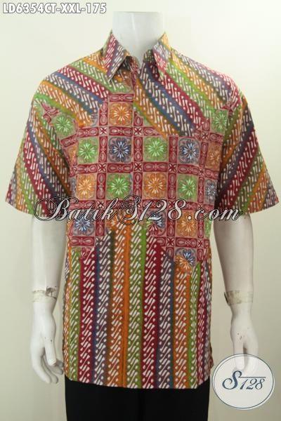 Di Jual Online Pakaian Batik Kwalitas Bagus Proses Cap Tulis, Baju Batik Kerja Pria Ukurna 3L Bahan Halus Motif Elegan Proses Cap Tulis, Size XXL