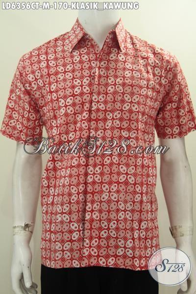 Produk Baju Batik Cap Tulis Motif Kawung Nan Elegan, Hem Batik Warna Cerah Berbahan Halus Model Lengan Pendek Keren Buat Ke Kantor, Size M