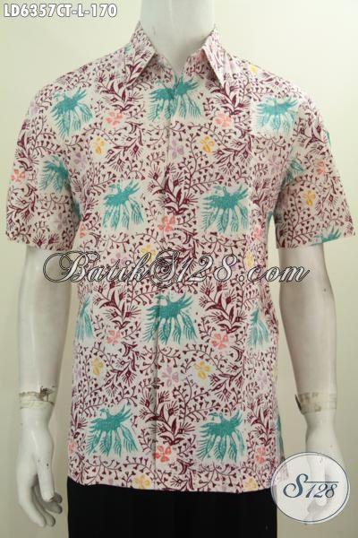 Baju Batik Trendy Proses Cap Tulis Modle Lengan Pendek, Busana Batik Kwalitas Bagus Bahan Adem Yang Nyaman Untuk Kerja Dan Pesta, Size L