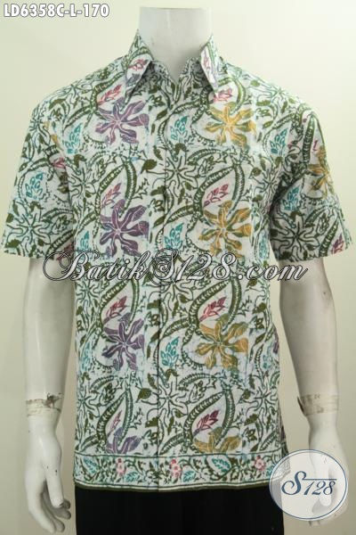 Agen Baju Batik Solo Paling Lengkap, Sedia Produk Kemeja Lengan Pendek Terbaru Motif Keren Proses Cap Size L Yang Modis Untuk Gaul