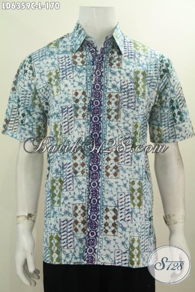 Baju Batik Keren Halus Proses Cap, Pakaian Batik Keren Halus Lengan Pendek Buatan Solo Yang Membuat Lelaki Lebih Gaya Dan Macho [LD6359C-L]