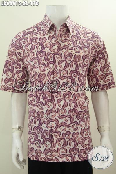 Batik Hem Proses Cap Motif Elegan Warna Bagus Bahan Adem Mdoel Lengan Pendek Ukuran XL, Modis Buat Kerja Dan Acara Formal