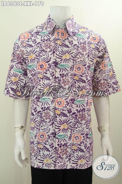 Kemeja Baju Batik Lengan Pendek Ukuran 3L, Busana Batik Trendy Motif Bagus Warna Ungu Berbahan Halus Proses Cap Tulis Untuk Kerja Dan Acara Santai