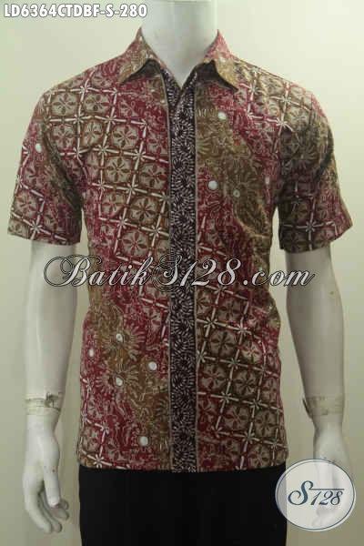 Hem Batik Keren Lengan Pendek, Baju Batik Cowok Size S Motif Bagus Dan Mewah Bahan Kain Doby Proses Cap Tulis Daleman Full Furing