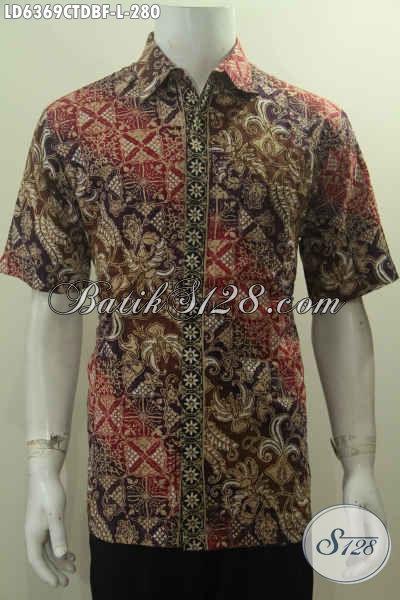 Kemeja Batik Modern Classic Nan Istimewa, Baju Lengan Pendek Full Furing Ukuran L Bahan Adem Kain Doby Di Lengkapi Daleman Furing Harga 280K