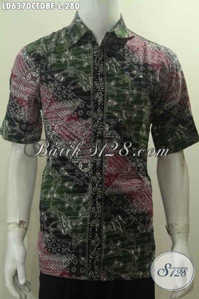 Baju Hem Batik Desain Trendy Model Lengan Pendek, Busana Kerja Pria Size L Daleman Pakai Furing Motif Terkini Bahan Kain Doby Yang Nyaman Di Pakai
