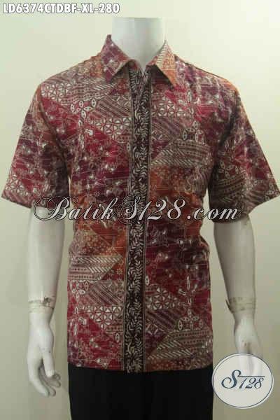 Hem Batik Premium Warna Merah Motif Klasik Nan Elegan, Kemeja Batik Cap Tulis Full Furing Lengan Pendek Bahan Kain Doby 200 Ribuan, Size XL