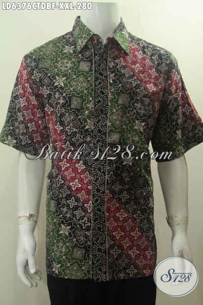 Baju Hem Batik 3L Motif Mewah Model Lengan Pendek Full Furing, Pakaian Batik Istimewa Proses Cap Tulis Lengan Pendek Exclusive Buat Lelaki Gemuk
