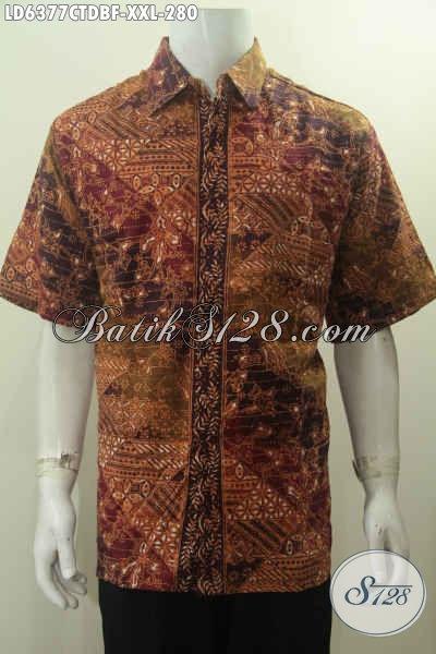 Baju Batik Hem Elegan Motif Berkelas Size 3L, Baju Batik Bahan Kain Dolby Halus Model Lengan Pendek Full Furing Untuk Pria Gemuk Terlihat Berwibawa [LD6377CTDBF-XXL]