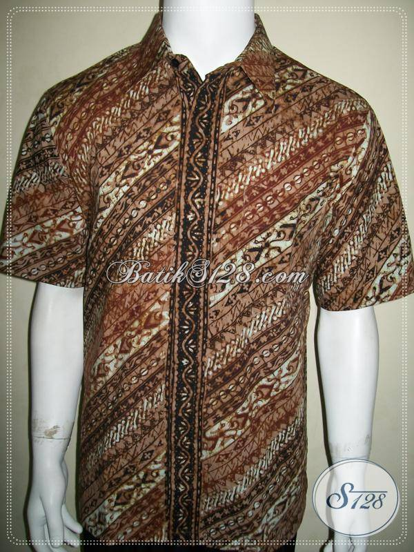 Hem Batik Parang Klasik Modern, Warna Coklat Soft Kalem [LD637CT-L]