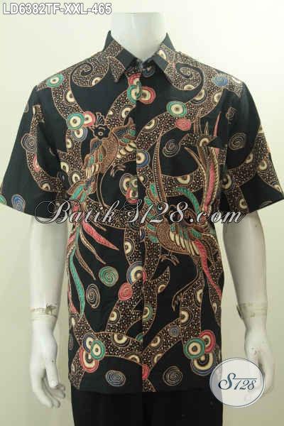 Baju Batik Mewah Untuk Kerja Pria Gemuk, Hem Batik Modis Dan Elegan Proses Tulis Model Lengan Pendek Pakai Furing Untuk Tampil Lebih Percaya Diri, Size XXL