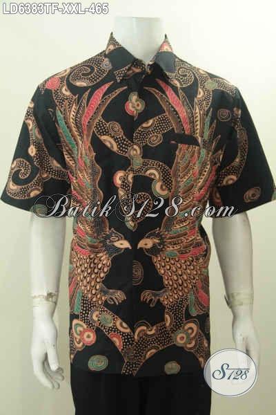 Jual Baju Kemeja Batik Keren Dan Mewah, Hem Batik Halus Motif Trendy Proses Tulis Tangan Desain Lengan Pendek Full Furing, Exclusive Untuk Lelaki Gemuk, Size XXL