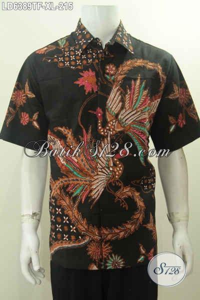 Kemeja Batik Premium Harga Minimu, Baju Batik Modis Lengan Pendek Motif Bagus Tulis Tangan Daleman Di Lengkapi Furing Untuk Tampil Lebih Berkelas, Size XL