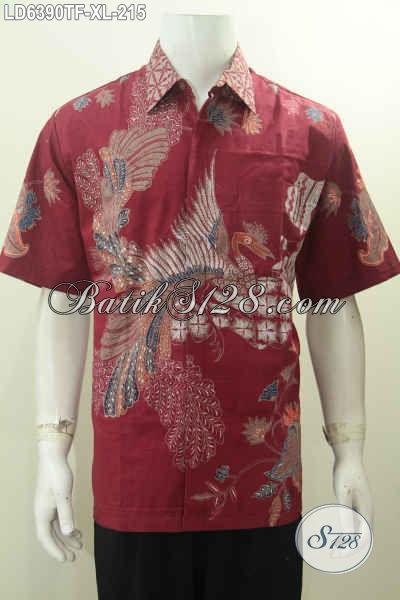 Hem Batik Merah Lengan Pendek Motif Mewah, Pakaian Batik Tulis Solo Daleman Full Furing Di Jual Online 200 Ribuan [LD6390TF-XL]