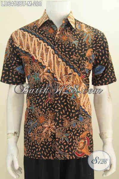 Hem Batik Kombinasi Tulis Kwalitas Premium, Kemeja Batik Lengan Pendek Non Furing Bahan Halus Motif Mewah Harga 200 Ribu, Size M