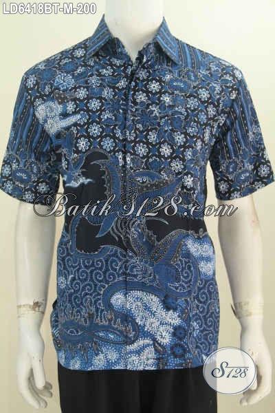 Jual Online Produk Kemeja Batik Elegan Warna Biru Motif Bagus Berbahan Halus Proses Kombinasi Tulis Ukuran M, Cocok Untuk Rapat