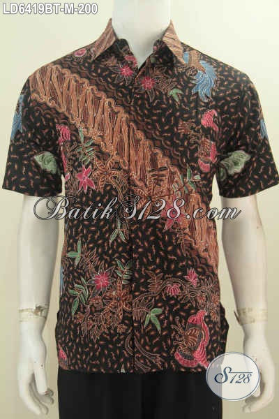 Baju Batik Modis Keren Kwalitas Premium, Baju Batik Solo Kombinasi Tulis Harga 200K Model Lengan Pendek Warna Mewah, Bikin Pria Terlihat Modis Dan Gagah, Size M