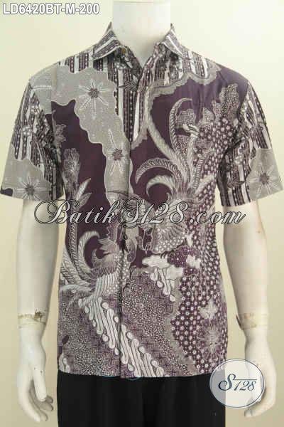 Baju Hem Lengan Pendek Keren Berbahan Batik Kombinasi Tulis Desain Motif 2016 Lebih Berkelas Dan Gaul, Tampil Makin Percaya Diri, Size M