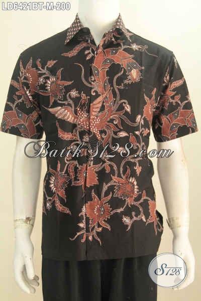 Hem Batik Dasar Hitam Nan Elegan, Baju Batik Kwalitas Premium Berbahan Halus Dan Adem Motif Trendy Kombinasi Tulis, Bisa Untuk Kerja Dan Santai [LD6421BT-M]