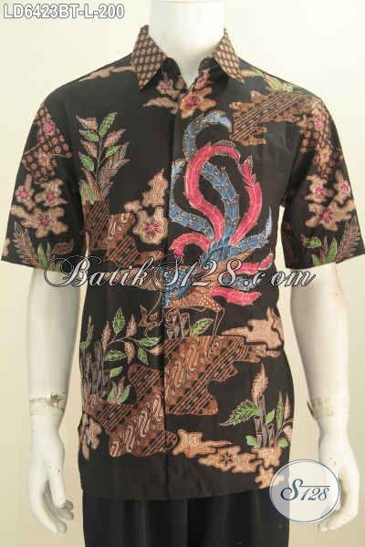 Hem Batik Modis Keren Model Lengan Pendek, Pakaian Batik Istimewa Khas Jawa Tengah Proses Kombinasi Tulis Yang Modis Buat Kerja Dan Hangout, Size L