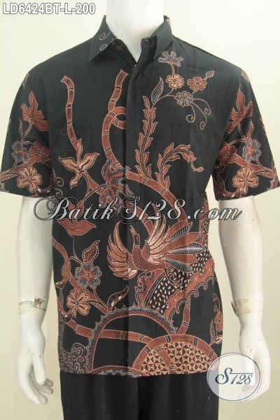 Jual Online Kemeja Batik Modern Motif Unik Dasar Hitam Elegan, Pakaian Batik Pria Untuk Seragam Kerja Dan Busana Santai, Sizel Proses Kombinasi Tulis