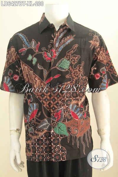 Baju Batik Pria Dewasa 40 Tahunan, Kemeja Batik Halus Lelaki Kantoran Motif Keren Bahan Adem Proses Kombinasi Tulis Harga 200K [LD6427BT-XL]