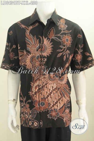 Batik Hem Dasar Hitam Motif Bagus Dan Mewah, Baju Batik Kombinasi Tulis Asli Solo Untuk Lelaki Dewasa Terlihat Beda Dan Gaya, Size XXL