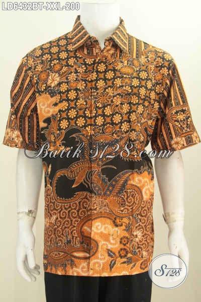 Jual Online Hem Batik Keren Dan Elegan Motif Bagus Proses Kombinasi Tulis harga 200K Buatan Solo Exclusive Untuk Baju Kerja Pria Gemuk, Size XXL