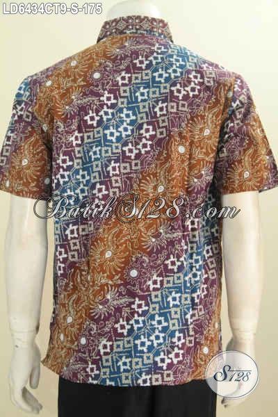Batik Hem Trendy Lengan Pendek Motif Kombinasi, Baju Batik Istimewa Dari Solo Bahan Adem Proses Cap Tulis Bikin Anak Muda Terlihat Keren Dan Stylish, Size S