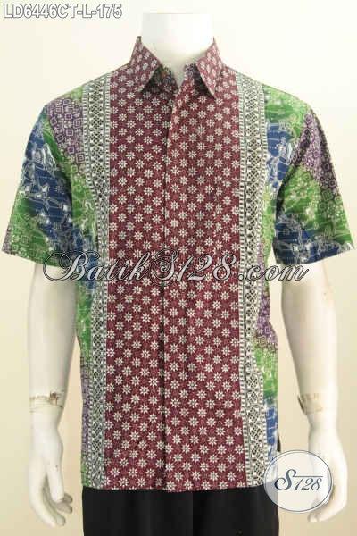 Hem Batik Kerja Model Lengan Pendek, Pakaian Batik Buatan Solo Bahan Halus Proses Cap Tulis Yang Membuat Lelaki Tampil Keren Dan Modis [LD6446CT-L]
