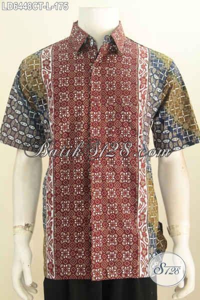 Hem Batik Elegan Desain Keren Motif Bagus Dengan Paduan Warna Berkelas Untuk Pria Tampil Trendy Dan Percaya Diri, Baju Batik Solo Proses Cap Tulis Size L [LD6448CT-L]
